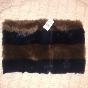 Ann Taylor Loft Fur Striped Scarf
